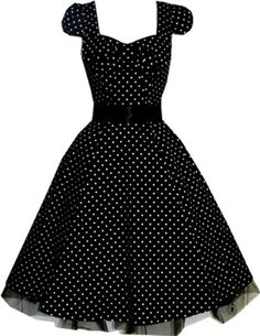 Pretty Kitty Fashion 50s Polka Dot Black Vintage Swing Prom Pin-Up Tea Dress: Amazon.co.uk: Clothing
