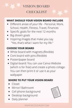 Vision Board Checklist - - How to create a vision board that works and how to chase your dreams and goals for the new year. Create the life you love with a vision board. Vision Board Template, Vision Board Ideas Diy, Vision Journal Ideas, Bullet Journal Vision Board, Instagram Inspiration, Make Up Inspiration, Business Inspiration, Inspiration Quotes, Journal Inspiration