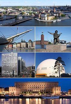 Stockholm.Vista aérea de Gamla Stan, Skeppsbron, Ayuntamiento de Estocolmo, Hötorgsskraporna, Globen Arena y Palacio de Estocolmo