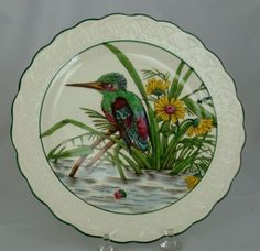 Wedgwood Standing Kingfisher Bird Plate Painted and Printed ca 1927 from antiquesoncanaanst on Ruby Lane