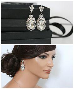 Bridal Earrings Crystal Wedding Earrings Vintage by LuluSplendor