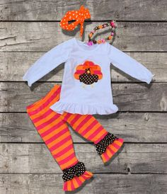 Orange Pink Striped Turkey Outfit Toddler Girl Outfit