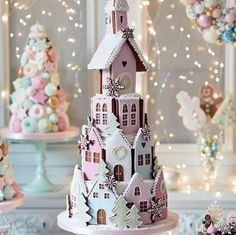 Had to share this charming pastel gingerbread village tiered cake. What fun it would be as a unique Winter wedding cake ~ Peggy Porschen Cakes Gingerbread Village, Christmas Gingerbread House, Noel Christmas, Pink Christmas, Christmas Goodies, Christmas Treats, Beautiful Christmas, All Things Christmas, Christmas Decorations