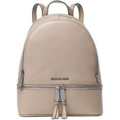 Michael Michael Kors Rhea Zip Medium Backpack ($168) ❤ liked on Polyvore featuring bags, backpacks, cement, genuine leather backpack, michael kors, handbags totes, tote backpack and beige leather tote