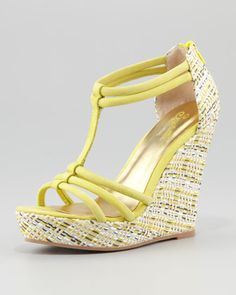 Gasp Woven-Wedge Sanda $95l, Yellow by Seychelles at Neiman Marcus.  Call for free shipping details 3122417096