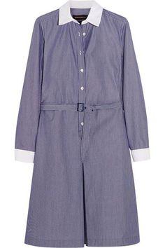 Vanessa Seward - Daisy Belted Pinstriped Cotton-poplin Dress - Navy - FR