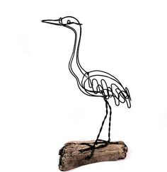 Sandhill Crane Wire Sculpture-207913691 by WiredbyBud on Etsy