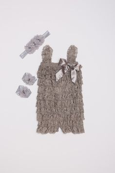 3 Piece Set  Gray Lace Petti Romper Set Lace baby by BabyBouteek