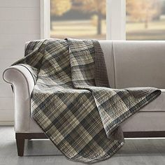 Grey Tartan Throw Printed Quilted Gray Lumberjack Themed Blanket Checked Bedding Sofa Couch Lodge Hunting Checkered Pattern Cabin Cottage Rustic