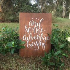 And so the adventure begins quote. Wedding sign. Wedding accesories. Wedding gift. Wooden wedding sign. Handlettered sign by willowandinkdesign on Etsy https://www.etsy.com/au/listing/286257053/and-so-the-adventure-begins-quote