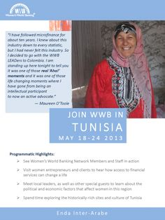 Travel with us to #Tunisia in May to learn about #microfinance, meet influential leaders in the local industry and meet our network member, enda inter-arabe's clients! Registration ends March 27!