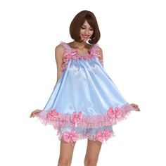 This gorgeous two piece outfit is the ultimate high-quality costume for the sissy crossdresser. It will definitely bring out the sissy in you. Baby Doll Nighties, Pleated Skirt Outfit, High Quality Costumes, Silky Dress, Maid Dress, Beautiful Lingerie, Pretty Dresses, Night Gown, Cosplay Costumes