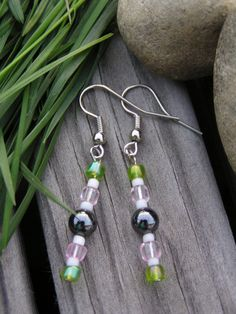 pink green and hematite earrings