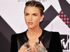 "Ruby Rose publicly welcoming everyone at the MTV EMAs by addressing ""ladies and gentlemen, and everyone in-between""."