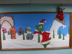 Another one of my art duties at the library involves designing and constructing bulletin board displays in the hallway. I've done several over the last couple years, ranging from a giant mark… Grinch Bulletin Board, Christmas Bulletin Boards, Christmas Classroom Door, Preschool Christmas, Grinch Christmas Decorations, Whoville Christmas, Christmas Themes, Diy Paper Christmas Tree, Christmas Art