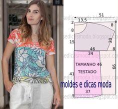 Sewing Pattern / T-shirt Easy Sewing Patterns, Sewing Tutorials, Blouse Patterns, Clothing Patterns, Fashion Sewing, Diy Fashion, Fashion Tips, Robe Diy, Costura Fashion
