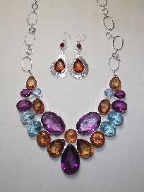 Handmade jewelery Set Amethyst+Blue Amber Necklace