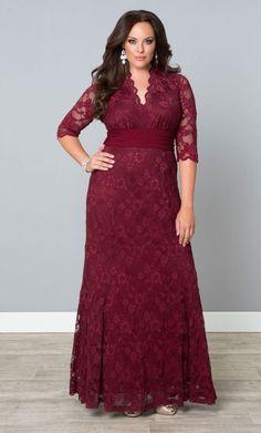 Plus Size Screen Siren Lace Gown - Rose Wine Plus Size Gowns Formal, Plus Size Evening Gown, Lace Evening Gowns, Plus Size Dresses, Plus Size Outfits, Plus Size Holiday Dresses, Formal Gowns, Formal Wear, Casual Wear