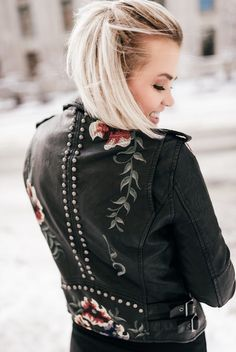 Jacket: tumblr black black leather leather embroidered embroidered platinum hair
