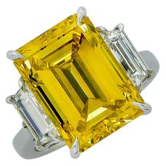 10.61 Carat GIA Fancy Color Diamond Platinum Ring