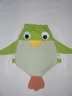 mochila pajarito verde telas de algodón,cordón de algodón cosido