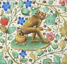 In lower margin by monkey, wearing leaf-like hat, holding spoon in right and eating fruit (?) held in left hand while defecating into three-legged pot. Book of Hours, MS fol. - Images from Medieval and Renaissance Manuscripts - The Morgan Library & Museum Medieval Life, Medieval Art, Medieval Books, Renaissance Art, Medieval Manuscript, Illuminated Manuscript, Poop Jokes, Design Editorial, Art Roman