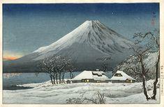 Fuji from Mizuchubo, 1936 by Shotei Takahashi. Shin-hanga. landscape
