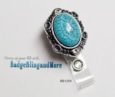 Large Turquoise Acrylic Stone with Silver Frame- Badge Holder Lanyard Clip BB1259