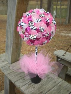 ribbon topiary; cute idea for shower (if I find out how to make or where to order).