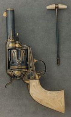 Colt Single-Action Sheriff's Model Revolver, 1884; decorated 1982  Steel, gold, ivory; koa wood (case) O