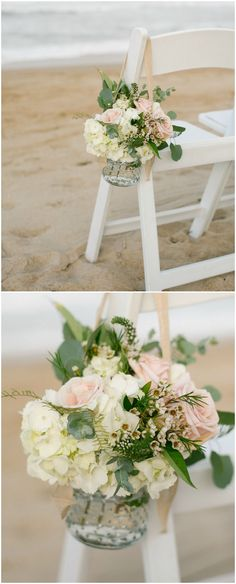 Beach wedding, ceremony seating, floral décor, waxflowers, pink roses, white stock flower // L'amour Foto