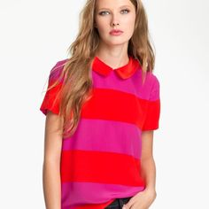 Kate Spade Striped Blouse Stripped to perfection with this Kate Spade bright top! Button up back and Peter Pan collar makes this one memorable blouse! kate spade Tops Blouses