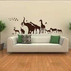 Animal Kingdom Skyline Elephant Giraffe Zebra African Bedroom Wall Sticker Art Mural Transfer Graphic Stencil Removable Vinyl SK7