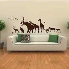 Animal Kingdom Skyline Elephant Giraffe Zebra African Bedroom Wall Sticker Art Mural Transfer Graphic Stencil Removable Vinyl SK7