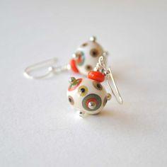 Cream Earrings Polka Dot Earrings Orange Polka Dots by bstrung, $28.00