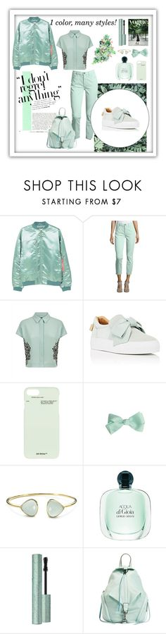 """""""monocrome"""" by naidenlewis ❤ liked on Polyvore featuring MANGO, Jen7, Jaeger, BUSCEMI, Off-White, Margaret Elizabeth, Too Faced Cosmetics and Rebecca Minkoff"""