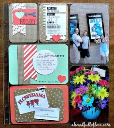 Pocket #scrapbooking Layout with handmade cards made using the Hip Hip Hooray Card Kit. #ProjectLife