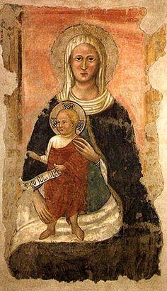 Pittore umbro della metà del XIV secolo - Madonna di Subasio - affresco staccato e riportato su tela - Pinacoteca Civica di Spello,  Umbria, Italia