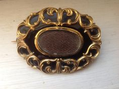 Victorian Mourning Brooch Hair and Enamel Antique by victoriansentiments on Etsy
