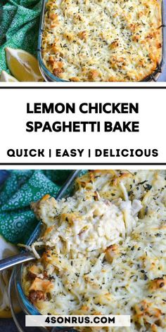 Lemon chicken spaghetti bake is a creamy, flavorful baked pasta dish you and your family will love. Bursting with flavors from a mix of Alfredo, pesto sauce and lemon juice, this Italian inspired casserole is one to make on repeat! #bake #recipe #spaghetti