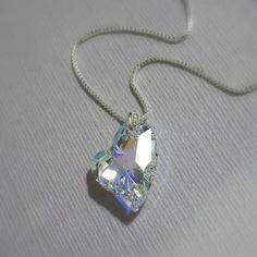 Heart Necklace,  Swarovski Crystal Heart Necklace, Sterling Silver Necklace Bridesmaid Necklace Bridesmaids Gift, Gift for Her, Gift for Mom