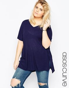 ASOS CURVE V Neck Oversized Slouchy Rib Top