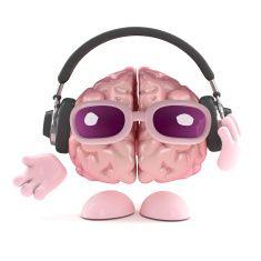3d Brain listens to headphones stock photo