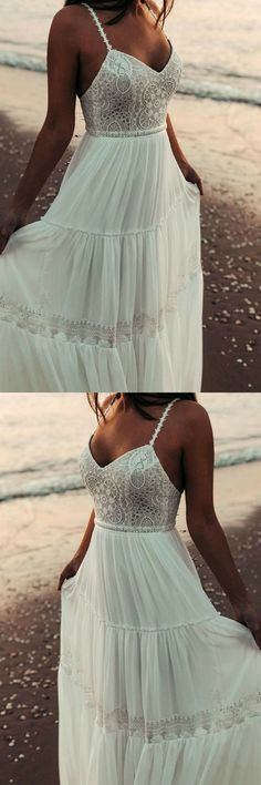 The Fairy wedding gown is perfect for the laid back, Boho Chic bride that is looking for a Gypsy Style Look. This dress has a deep plunge style top draped with a Flower Crochet Lace. It features a very deep cut at the sides that is Super Sexy. This fit is perfect for brides that are looking for medium cleavage and open back. Bohemian, Beach Wedding dress, Crochet Lace, Gypsy, Vintage, Ivory, Hippie, BOHO, Chiffon Skirt, KALAKALA bridal, Backless, Wedding dresses, wedding ideas #ad