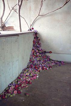 Flowers drift in abandoned house