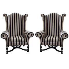 Larry Reilly Collection - a pair of mammoth size wing chairs, 4 available - from Saved to Bambino Decor. Decoration Baroque, Decoration Design, Gothic Furniture, Furniture Decor, Furniture Design, Gothic Home, Striped Chair, Vintage Stil, Tim Burton