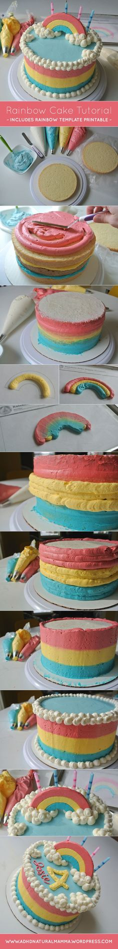Birthday cake tutorial for girls rainbow or unicorn party, cake topper printable, gluten free included
