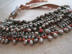 An Antique Bedouin Pectoral (worn on the chest) Necklace from Yemen | Silver and coral  | ca. early 1900s