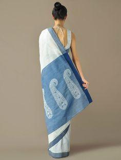 Ivory & Indigo Border Kairi Pallu Handloom Cotton Saree