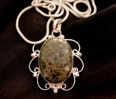HUGE AUSTRALIAN JASPER DESIGNER WEAR FOR HER 925 STERLING SILVER NEW PENDANT 179 #925silverpalace #Pendant